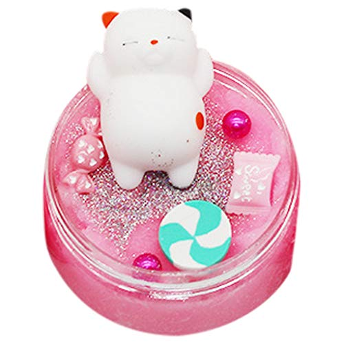 Lomsarsh 100ml Thousand Silk Cat Chick Drawing Mud Slime Crystal Small Animals Cotton Mud Butter Charm Elasticity Slime Puff Putty DIY Gift for Kids (Pink)