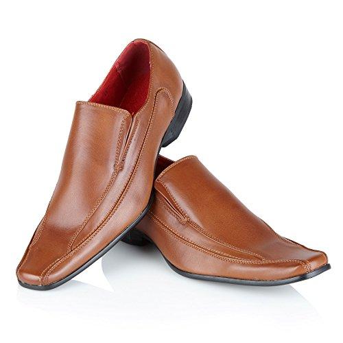 festa della da scarpa Shoe Scarpe dimensioni in vestito Smart Avenue Casual pelle per uomo Tan formali Pu da Custodia wqwZO1Cp