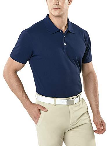 TSLA Men's Dri Flex Tech Polo Premium Active Fit Solid Top Shirt, Basic Pique Polo(mtk10) - Navy, - Premium Polo Pique Sleeve