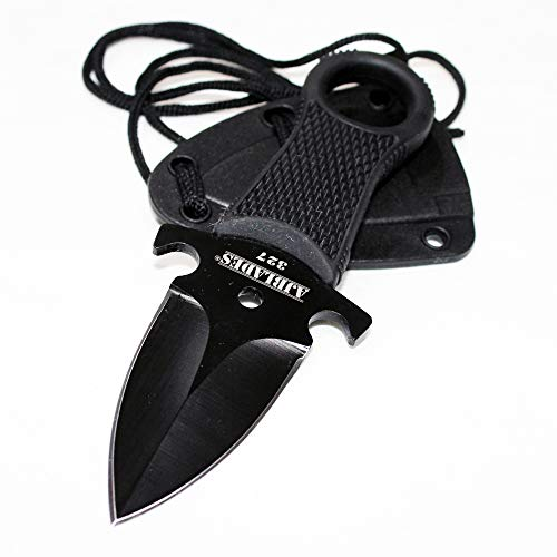(AJBLADES Tactical Black Full Tang Neck Knife Fixed Blade Military Dagger Sheath-AJ327)