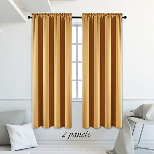 """DONREN Blackout Curtain Panels for Bedroom - Rod Pocket 84"""" Length Curtains (Gold Yellow,42"""" W x 84"""" L,2 Panels)"""