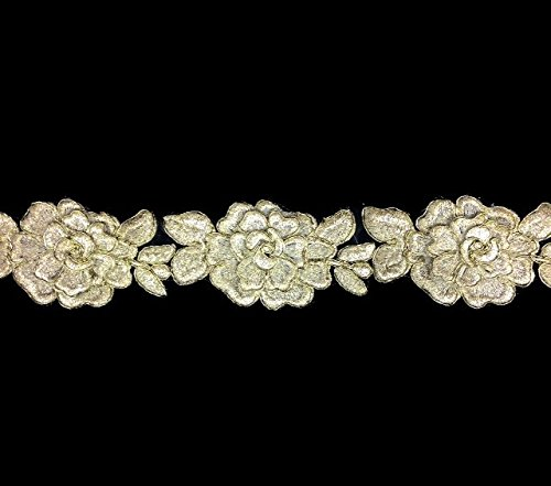 Antique White with Gold Cord 3D flower lace trim Embroidered, for sale  Delivered anywhere in USA