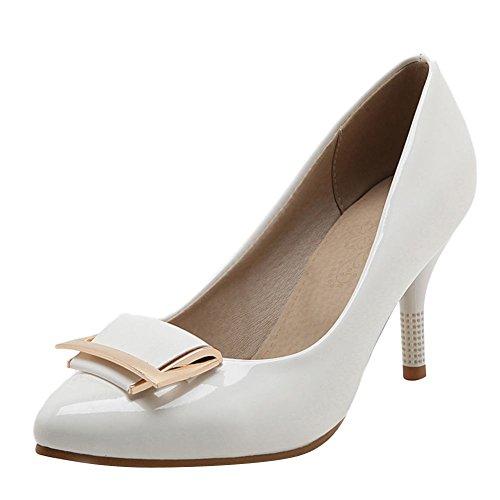 Carolbar Women's Elegant Charm High Heel Stiletto Pointed Toe Dress Shoes White MFOcP
