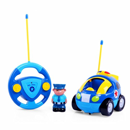 edealing(TM) Remote Control RC Cartoon Police Car Music Light Radio Control Toy for Toddlers Kids (Cartoon Police Hat)