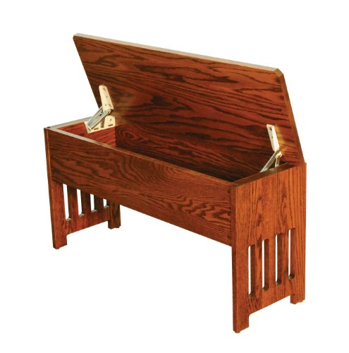 Mission Bench With Storage Solid Oak Wood