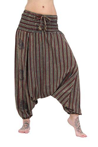 100 Vert Court Pantalon Rayé Coton Motif Crotchless pxREq8wU