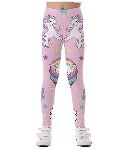 GLUDEAR Girls Full Length Leggings Kids Unicorn Printing Stretch Classic Pants