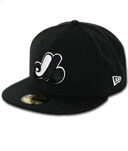 Mlb Logo Caps - MLB Montreal Expos Cooperstown Black with White 59FIFTY Fitted Cap, 8