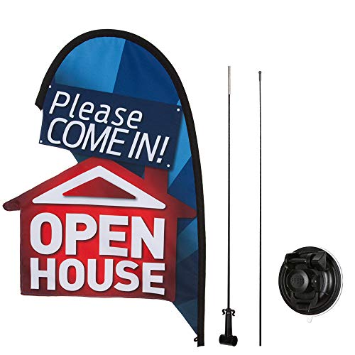 (Open House Flag Kit for Real Estate Agents, Suction Cup Attachment, 2 ft, Please Come in Open)