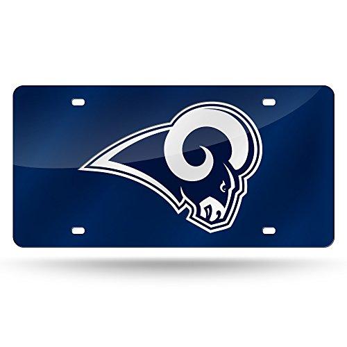NFL Los Angels Rams Laser Inlaid Metal License Plate Tag, Navy ()