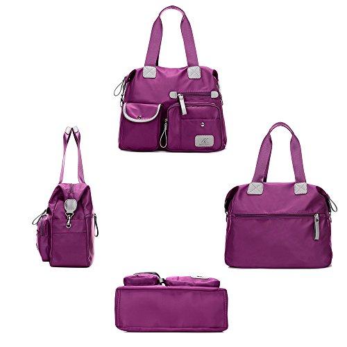 poches de fourre Grand bandoulière l'école à main Violet Sacs Shopping voyage Toile Hobo Sac Nylon Multi tout pour Gindoly travail à et sac femme pour PyY0Uq