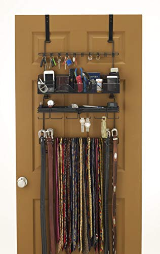 Wall Valet - Longstem Men's #9200 Over the Door/Wall Belt Tie Valet Organizer - beautiful BLACK powder coat- see our #9100 5 star reviews! men's organizer Patented - Rated Best!