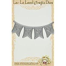 La-La Land Crafts Die-Heart Banner, 1.6-Inchx4-Inch