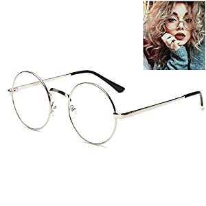 Littlegrass Round Circle Frame Clear Lens Glasses Vintage Oversized Metal Brown Black Silver Gold (silver)
