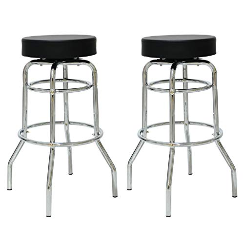 Retro Metal Double Glider - Porthos Home NH003A BLK Retro 360 Degree Swivel Double Rung Bar Stools with 1950s Diner Style Chrome Finish Frame, Set of 2, One Size, Black