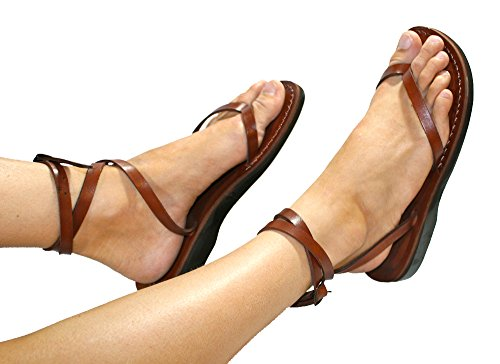 Brown Ankle Strap Unisex Leather Sandals / Genuine Handmade Leather Holy Land Biblical Jesus Sandals (EURO  44)