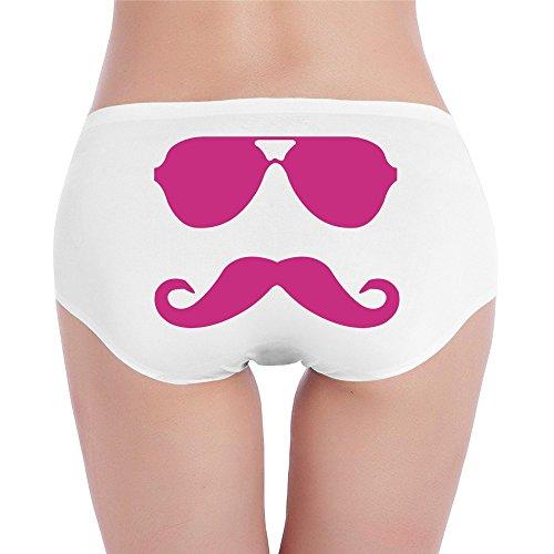 CHARJOSE Women's Mustache And Black Glasses Fashion Low Waist Seamless Bikini Panty