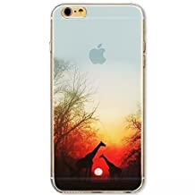 Apple iPhone 5 5S Case,Vandot Popular Fashion Colorful Printing Ultra Slim Thin Protective Cover With Soft TPU Silicone Bumper+Hard PC Matte Transparent Back Cover,Unique Design Landscape Cute Animal Giant Giraffe Tree