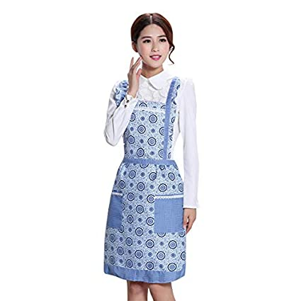 SYGA Blue Round Design Waterproof Stylish Polyester Fiber Women Apron