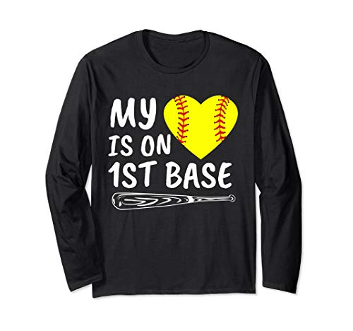 My Heart Is on 1st Base Softball Bat Proud Mom Dad Gift Long Sleeve T-Shirt