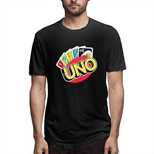 Greatcountry Math Games UNO Cards Game UNO Logo Mens Sport Shirts S Black