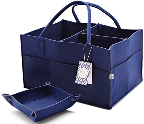 Little Tinkers World Baby Diaper Caddy & Extra Large Organizer For Diapers, Wipes & Nursery Storage Bin  Unisex design - Navy