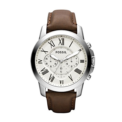 Fossil White Silver Dial (Fossil Men's Grant Quartz Stainless Steel and Leather Chronograph Watch, Color Silver-Tone, Brown (Model: FS4735))