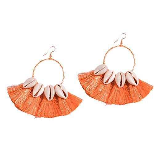 - Psunrise Pendientes Bohemian Ethnic Style Creative Golden Silk Tassel Shell Round Metal Earrings Ladies Jewelry(3.5 × 10.5cm, Orange)