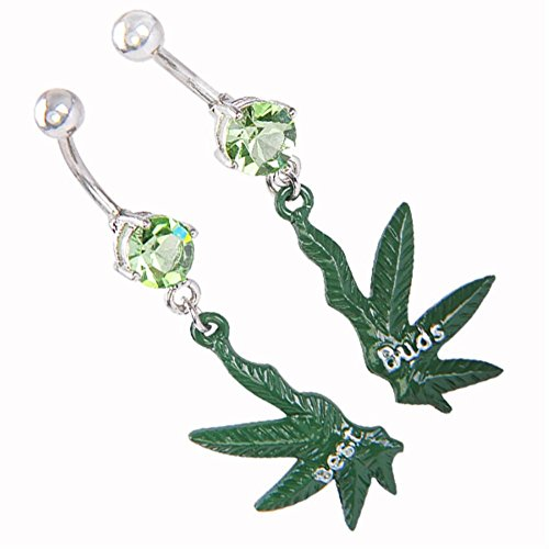 Cutlery Jewelry Body Navel Ring - Sunmid Navel Rings Barbell Bar Belly Best Buds Maple Leaf Ornament Navel Ring Body Piercing 1 Pair Best Decoration For Body