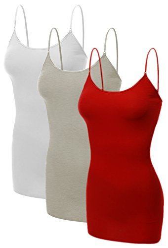 (Emmalise Women's Basic Plus Size Long Camisole Cami Top Value Combo - 3Pk - White, Oatmeal, Red, 3XL)