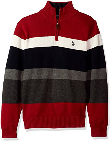 U.S. Polo Assn. Men's Striped 1/4 Zip Sweater, Apple Cinnamon, Medium by U.S. Polo Assn.