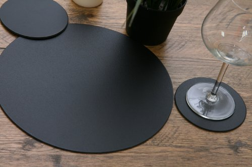 Set of 6 Black Leatherboard Round Placemats & 6 Coasters (12 Piece Set)