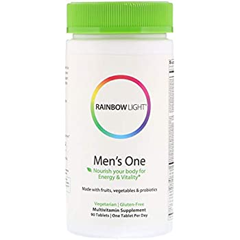 Rainbow Light - Men's One Multivitamin - Probiotic, Enzyme, and Vitamin Blend; Supports Energy, Stress Management, Heart, Prostate, Muscle, and Sexual Health in Men; Gluten Free - 90 Tablets