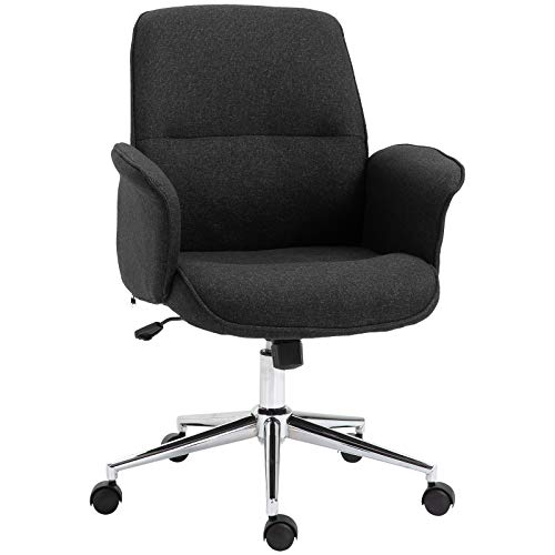 Vinsetto Adjustable Linen Fabric Swivel Home Office Chair with Arms, Upholstered, Mid Back – Dark Grey