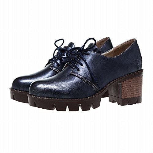 Le Donne Di Carolbar Allacciano Le Famose Scarpe Oxford Dal Tacco Medio Di Grosso Stile Retrò Blu Intenso