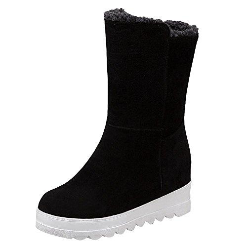 Carolbar Womens Neutral Simple Comfort Warm Winter Snow Boots Black kKJbm3