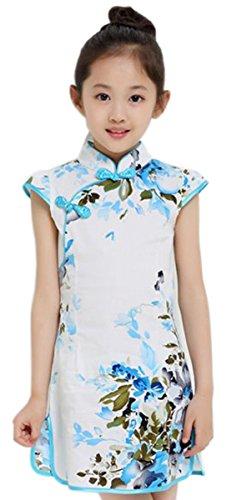 Suimiki Girls Kids China Style Chinese Qipao Cheongsam Dress Costume Top E150 (Halloween Girl)