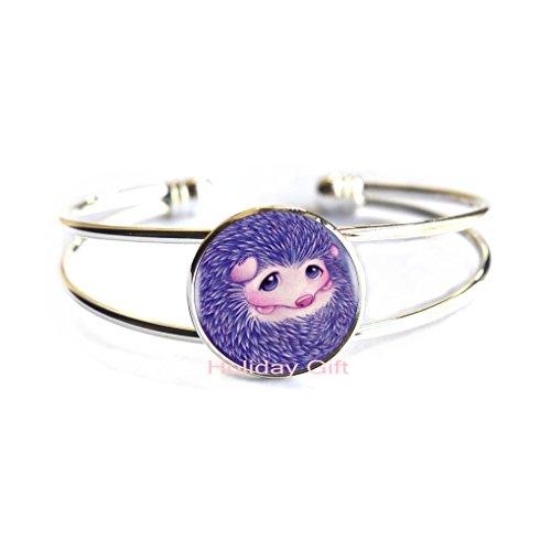 Holiday gift Fashion Bangle,Purple Cute Baby Hedgehog Bracelet Choker Statement Silver Bangle for Women Dress Accessories-Abaicer Jewelry,H039 (S1) -