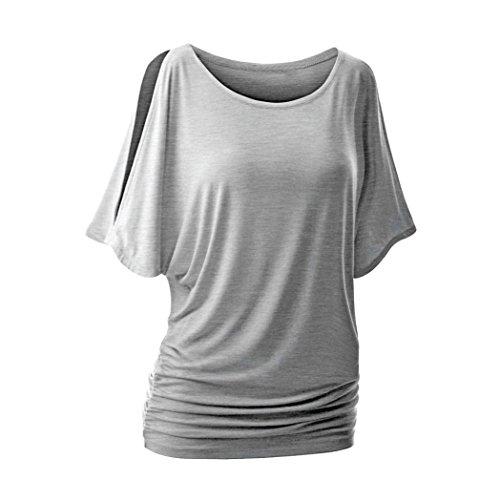 Manches Top Blouse Solide De shirt T Gris L'épaule Recueillent Courtes Femmes Au Large Tonsee Taille qfwna1Ca