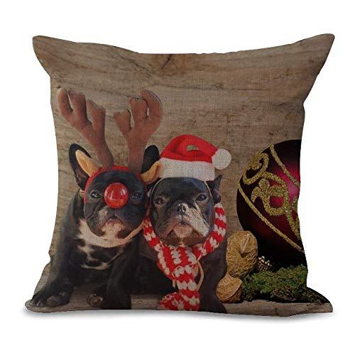 Santa Bulldogs Pillow (Merry Christmas Square 18