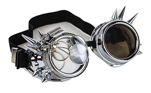 Steampunk Victorian Spike Goggles 2X Lens Scissors Punk Goth (SILVER)