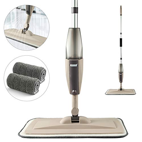 Spray Mop for Floor Cleaning, Floor Mop with a Refillable Spray Bottle and 2 Washable Pads, Flat Mop for Home Kitchen Hardwood Laminate Wood Ceramic Tiles Floor Cleaning (2 Pack Mop Pads)
