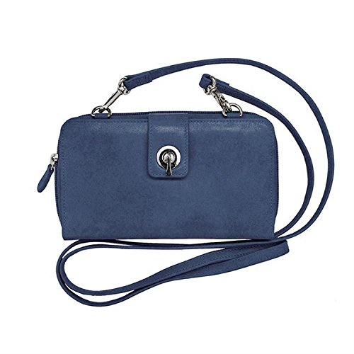 Wallet Jeans 6365 Crossbody Lining New Blue Smartphone Blocking RFID with York ili Leather SHwTqUFnBn
