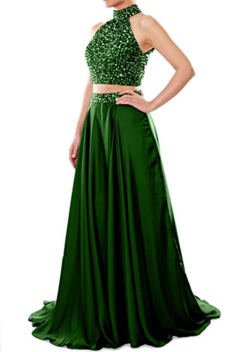 MACloth Women V Neck Chiffon Lace Long Prom Dress Formal Party Evening Ball Gown (EU40, Verde Oscuro)