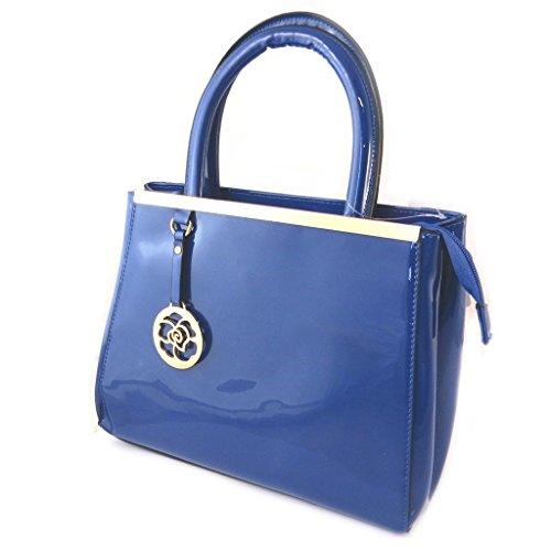 Bolsa de diseñador 'Scarlett'pintura azul - 28x22x11 cm.