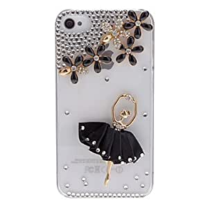 TY Elegant Girl Dancing Ballet Covered Transparent Hard Case with Nail Adhesive for iPhone 4/4S (Assorted Colors) , Black
