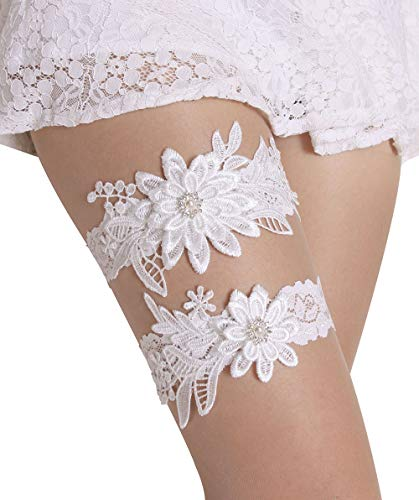 (Wedding Garters for Bride Bridal Lace Garter Set with Rhainestone Pearls (White))