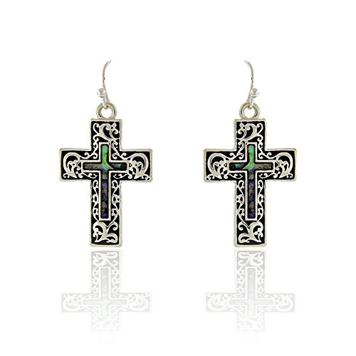Sunnity Silver Abalone Filigree Cross Drop Earrings