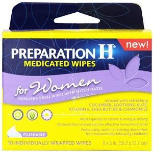 Preparation H Medicated Wipes for Women, 1 Pack of 10 Individually Wrapped Wipes (Pack of (Preparation H Wipes Women)