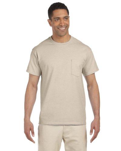 (Gildan Mens Ultra Cotton 100% Cotton T-Shirt with Pocket, Large, Sand)